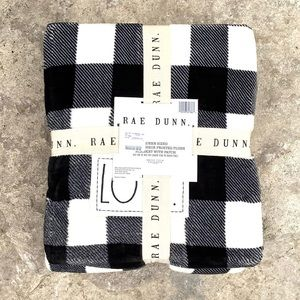 Queen Sized Buffalo Check Plush Blanket LOVE Patch
